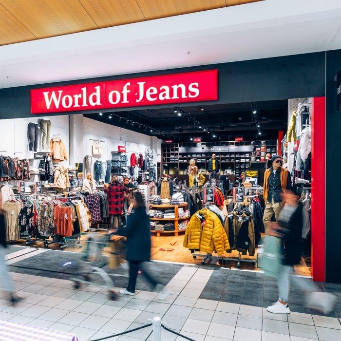 Shopfront von World of Jeans im Emmen Center